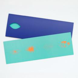 Zaniah, Carte et pochette avec découpe, illustration, pantone orange fluo