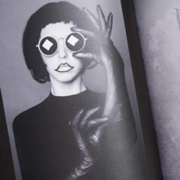 Magazine, photo, cadre noir, graphisme