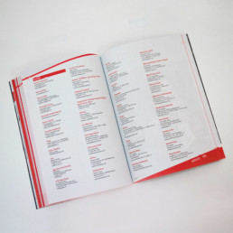 Mise en page du livre, partie annuaire, création de la maquette
