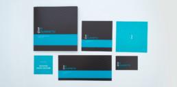Création identité visuelle complète, logo, cartes de visite, pochette, plaquette