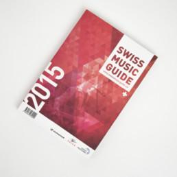 Swiss music guide 2015, mise en page, couverture. Livre domaine musique Suisse
