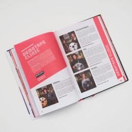 Edition swiss music guide 2018. Atelier Zaniah à Orbe, conception et réalisation. Choix typographie, couleurs et mise en page.