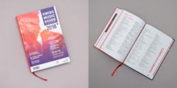 Couverture et page annuaire, guide musique en Suisse. Composition, montage photo.