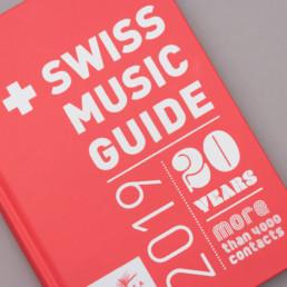 Couverture du Swiss Music Guide 2020, graphisme et composition typographie