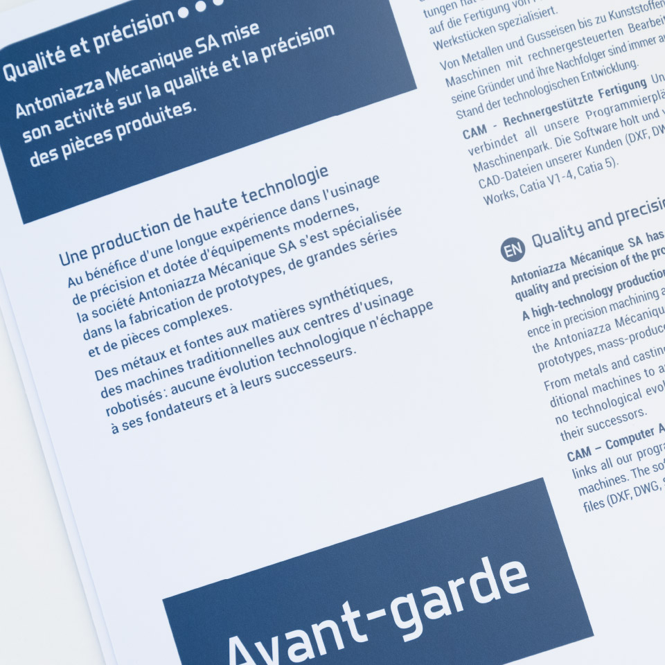 zaniah, brochure de présentation, mise en page