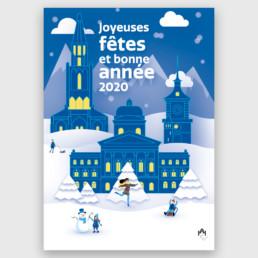 Illustration imprimée pour Palais fédérale à Berne en hiver