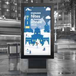 Illustration et animation pour écran e-panel, Palais fédérale à Berne en hiver
