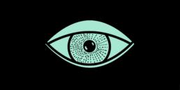 Page d'accueil, site internet atelier de graphisme Zaniah région nord-vaudois, vignette avec illustration oeil