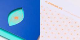 Carte et pochette avec découpe, illustration, pantone orange fluo, détail