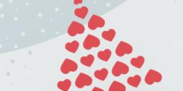 Création graphique, carte de voeux, détail sapin composé à partir de coeur