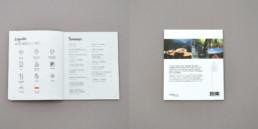 Couverture du guide Balades gourmandes en Suisse romande, mise en page texte, légendes pictogrammes et sommaire. Photo du dos de la couverture.