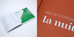 Guide loisirs en suisse romande. Plan illustré et page titre.