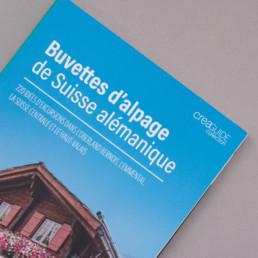 Couverture de l'édition des buvettes d'alpage suisse alémanique. Graphisme et mise en page réalisé par graphistes région nord vaudois.