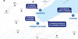 Détail carte région nord vaudois. Graphisme, dessin, typographie et mise en page.