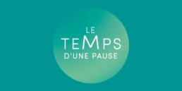 Logo de temps d'une pause. Typographie et couleurs turquoise.