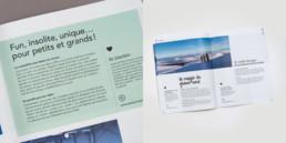 Double page brochure tourisme, graphisme, mise en page