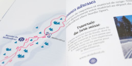 balade, livre, guide loisirs suisse romande, carte illustrée d'une balade en raquette et détail typographie