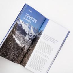 Texte d'introduction, chapitre, région Verbier Valais. Balade en raquette. Mise en page du guide.