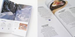 Pages Bonnes adresses pour balade en suisse romande. Mise en page du guide, bureau de graphiste, région Yverdon-les-bains.