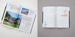 livre buvettes, graphisme, page titre région et textes de présentations des buvettes, choix graphique: typographie, couleurs (rouge et bleu), et grille de mise en page
