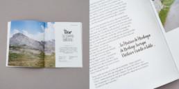 Guide activité et loisirs, layout, double page et exergue. Création par graphistes à Orbe.