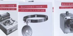 Photo projet anniversaire société Marcel Blanc, onglet, impression rouge et noir, domaine médical, matériel vintage