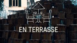 Pictogramme et texte, illustrant la terrasse