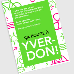 Programme service des sports, Yverdon. Graphisme, vert fluo et pictogramme. Composition typographique.
