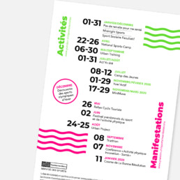 Flyer A5 service des sports, Yverdon. Graphisme, vert et rose fluo pictogramme. Mise en page du texte.e.