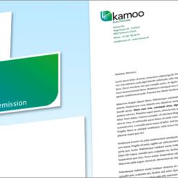 Kamoo-electrocars, logo, papier à lettre et carte de visite