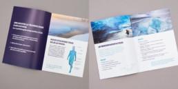 Dépliant, soins cryothérapie, région champagne, conception graphique par atelier Zaniah à Orbe
