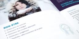 Plaquette de présentation, choix photos, typographie et couleur. Mise en page des textes.