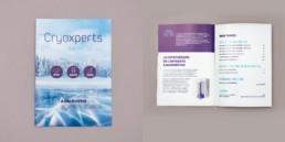 Brochure format A5, couverture et double page, Graphisme couleurs bleu et indigo