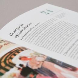 Détail mise en page livre sur la botanique, titre, sous-titre. Choix typographie.