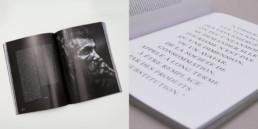 Double pages, article sur fond noir, grande exergue sur fond blanc, magazine société et création