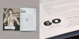 Article portait noir et blanc, détail typographie, graphisme