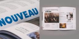 Magazine commerçants à Pontarlier, article et détail typographie et couleur