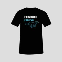 T-shirt, slogan, texte blanc et turquoise sur noir, graphisme par bureau zaniah