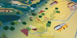 Carte pour l'office du tourisme, orbe. Illustration des activités dans la région.