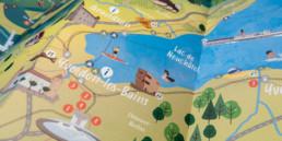 Plan des loisirs dans la région yverdon-les-bains. Illustration réalisée par le bureau de graphistes Zaniah.