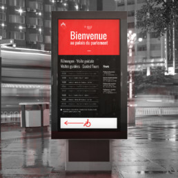Ecran d'accueil, e-panel, mise en page et choix typographie